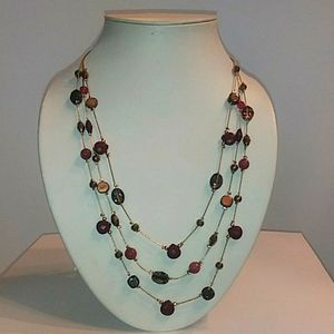 Beaded Necklace. Brown Burgundy gems  Gold tone